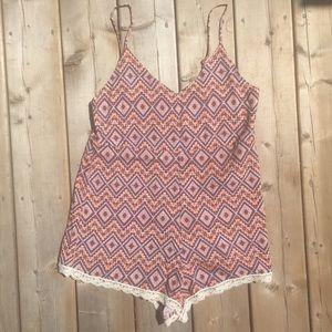 Forever 21 Boho Romper Crochet Detail Small